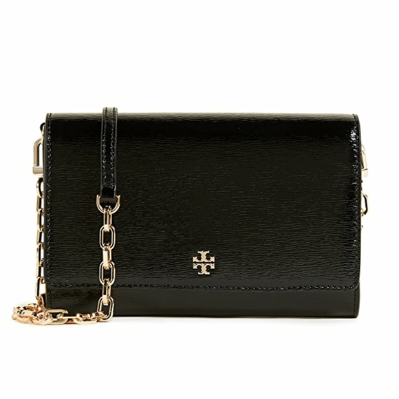 Tory Burch VEUC Wallet on a Chain Black Patent